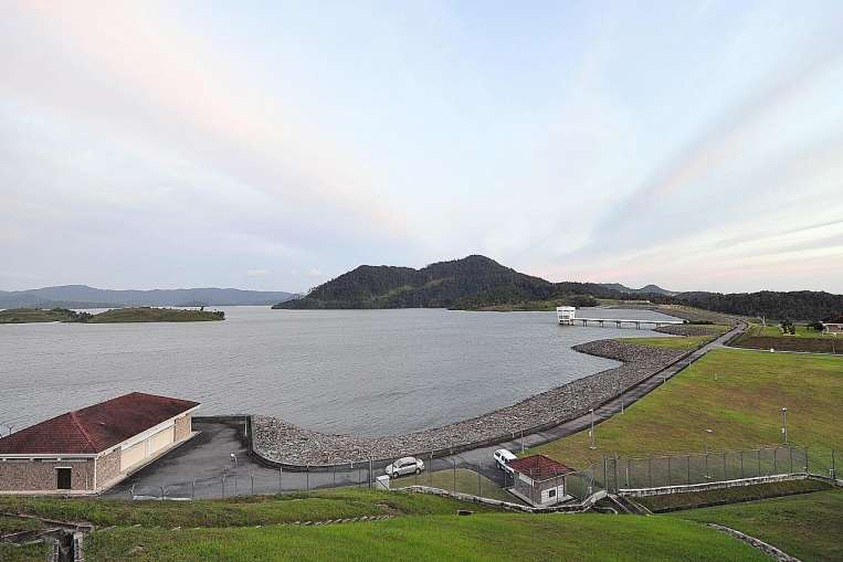 The Linggiu Reservoir in Johor, in a photo taken in 2012. Last month, Minister for the Environment and Water Resources Vivian Balakrishnan highlighted how dry weather led water levels in the reservoir to drop to an all-time low of only 54.5 per cent of its capacity that month. The reservoir's water level affects Singapore's ability to draw water from Malaysia's Johor River.ST PHOTO: ALPHONSUS CHERN