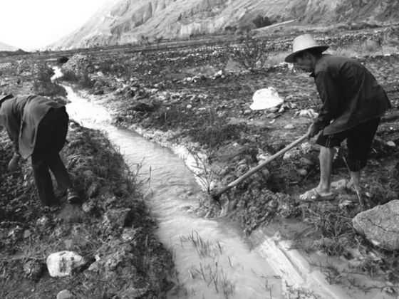 Farmers in China's Yunnan province digging ditches to lead water from a white polluted stream into farm fields in March 2013. The government estimates that almost 20 per cent of China's once arable land is now unfit for food production due to soil contamination. Photo: Reuters
