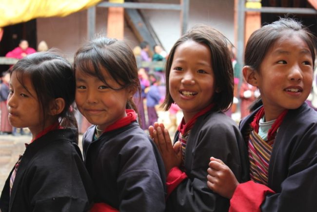Bhutanese schoolgirls during the Tshechu festival in 2013. Arian Zwegers/Flickr