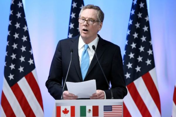 "US trade representative Robert Lighthizer speaking to reporters after the second round of talks on Nafta. He was less combative than in the first round, and sounded conciliatory by saying that he wanted ""a good agreement"". PHOTO: REUTERS"